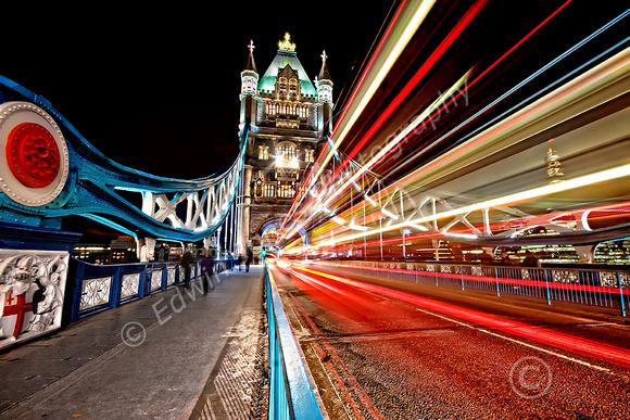London Light Trails to Tower Bridge Final
