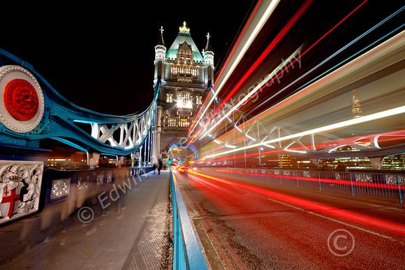 London Light Trails to Tower Bridge tonemapped