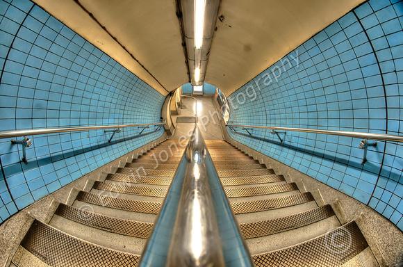 Blue Stairwell London Underground Tonemapped