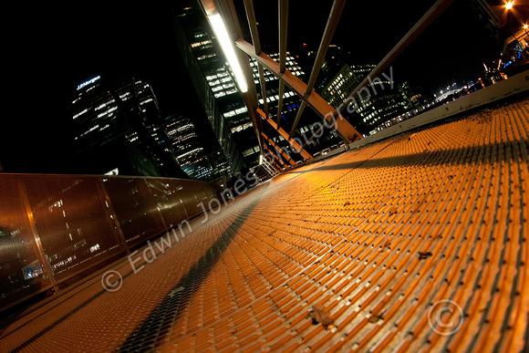South Quay Footbridge Canary Wharf Night View Original
