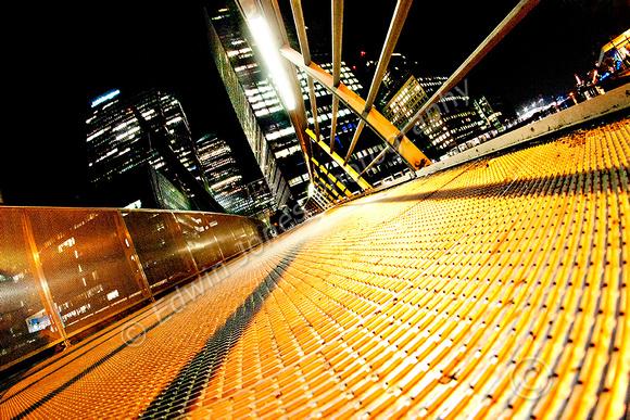 South Quay Footbridge Canary Wharf Night View Final