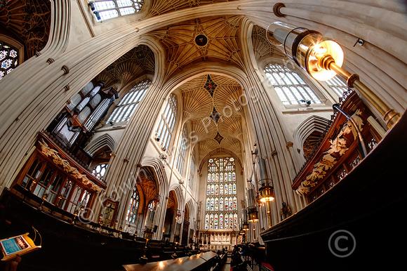Choir Stalls Bath Abbey Fisheyed tonemapped