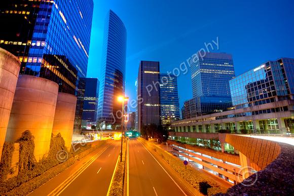 La Defense Blue Hour Cityscape tonemapped