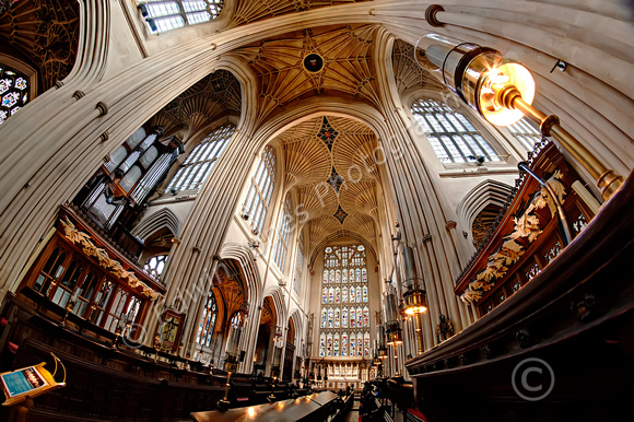 Choir Stalls Bath Abbey Fisheyed