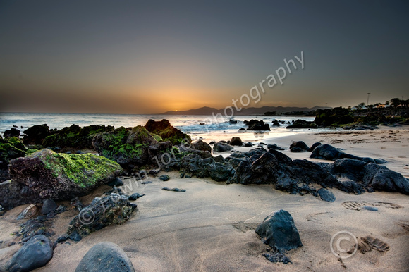 Puerto Del Carmen Lanzarote. Low tide Sunset